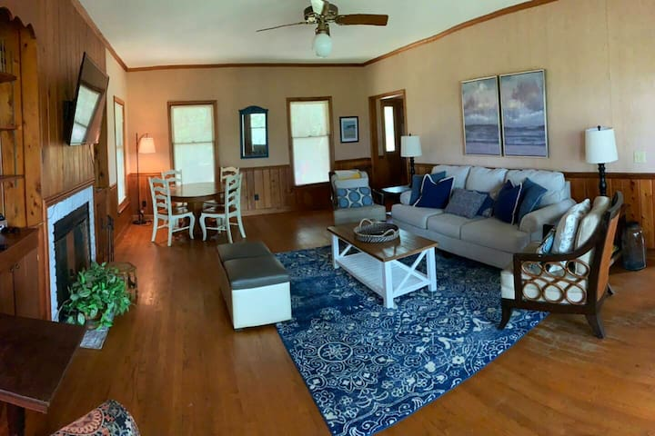 The spacious living room is a great gathering spot.