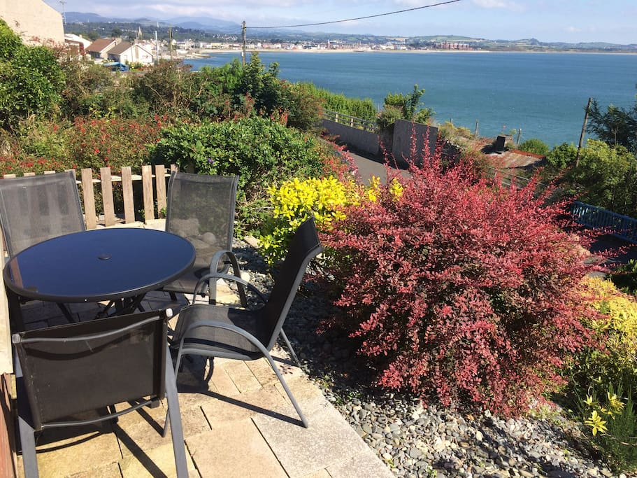 Granite patio with table and chairs. Sit and have a drink and enjoy the views
