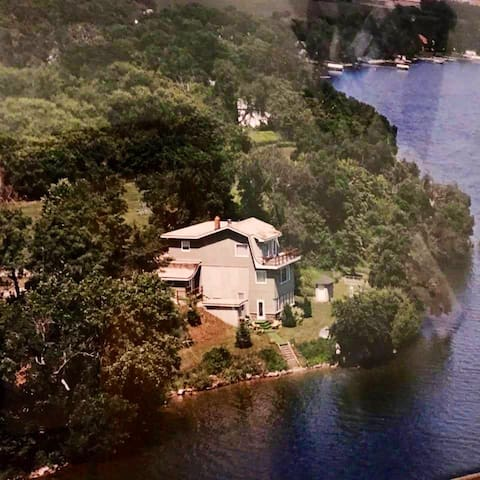 Aerial photo of Priest Point View... This house was one of the first houses on Lake Minnewaska, and as seen in this photo, it is literally right on the lake.