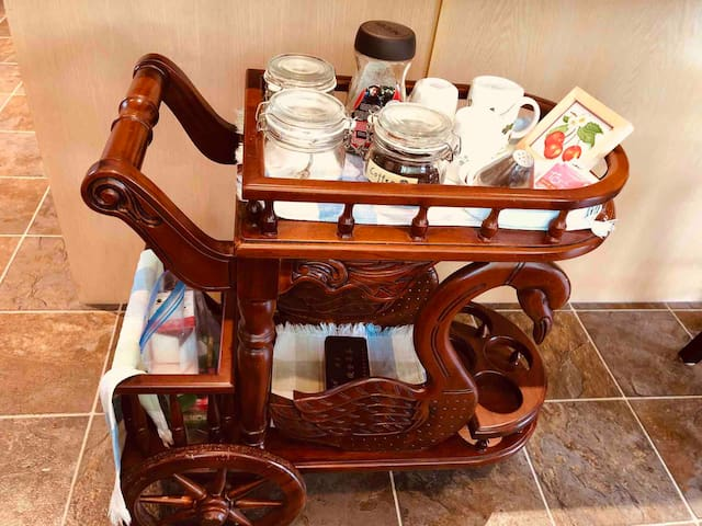 Coffee and tea cart for guests in the kitchen
