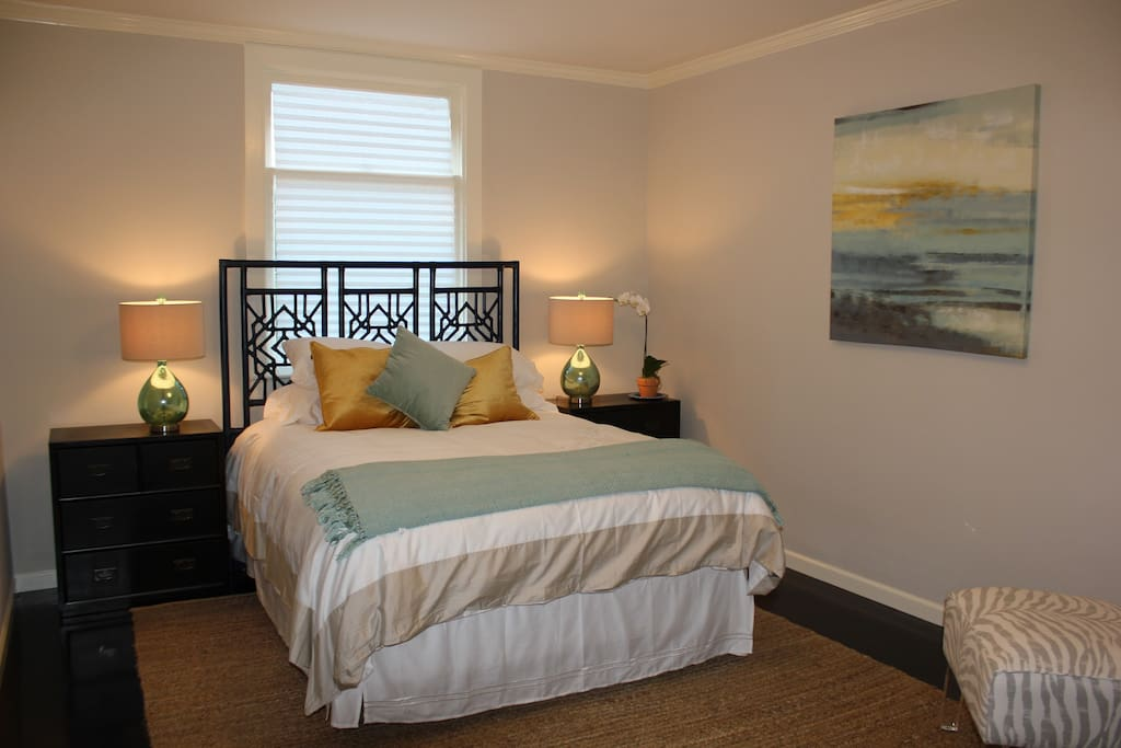 Queen Bed with Organic mattress and luxury linens