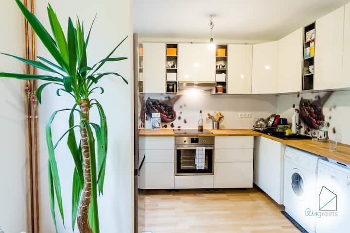 Spacious/bright apartment w/ a balcony by the Elbe