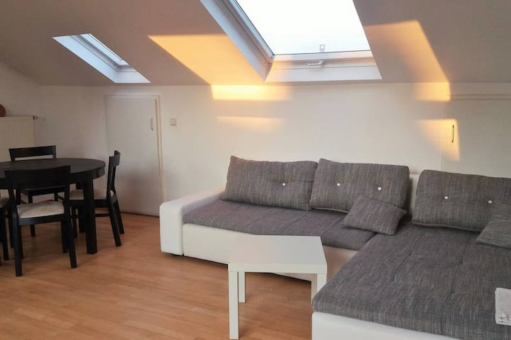 Shared living room right under the roof