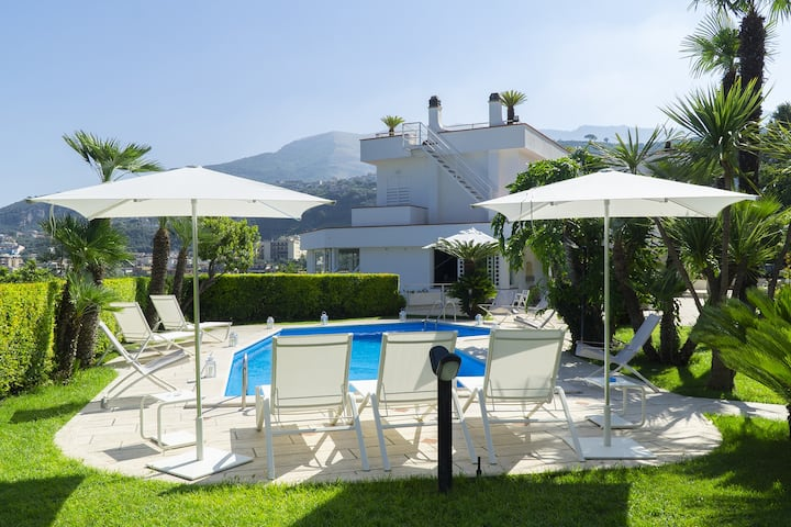 Private villa with swimming pool and sea views