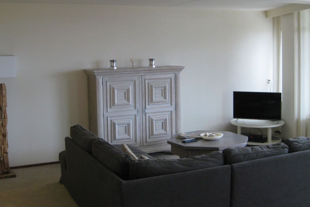 Large sofa with smart tv and dvd player
