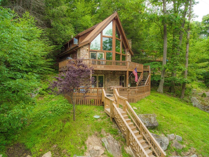 Split Lakefront Home w/Private Dock, Wood Fireplace, & Jetted Tub!