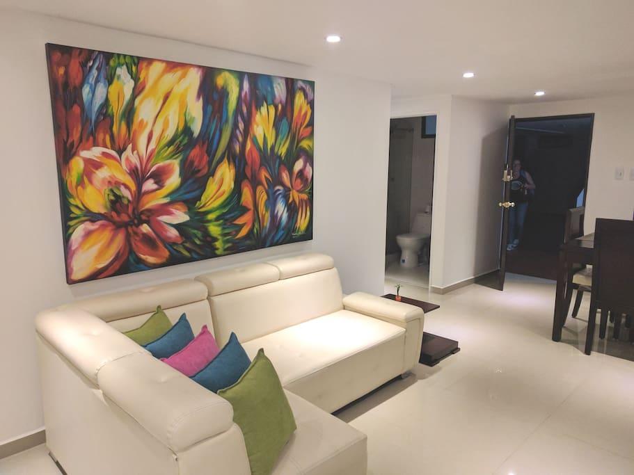 Sala y puerta de acceso al apartamento
