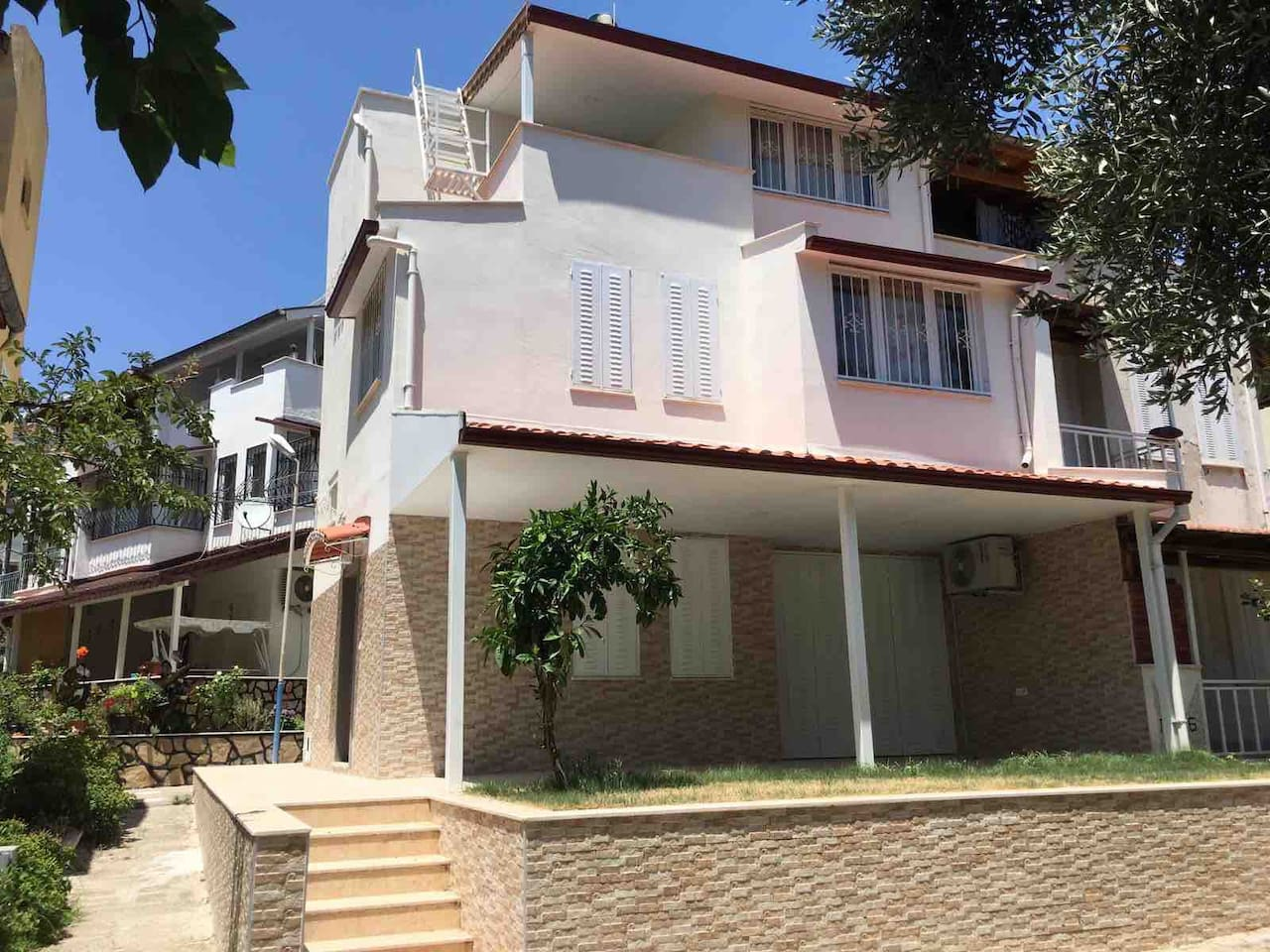 House front with garden