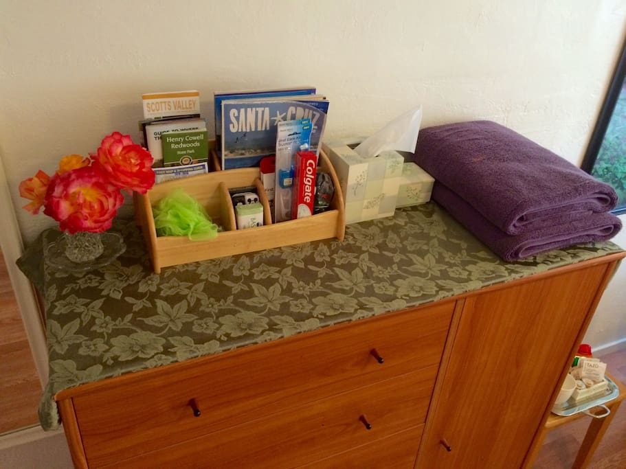 Welcome amenities include local tourist info, fluffy towels, tissues, essentials you may have forgotten and seasonally fresh cut roses from the garden.