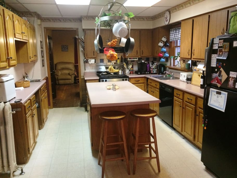 Lots of counterspace! Unlimited use of refrigerator and freezer, Keureg, microwave, stove, oven, toaster, bread maker, quesadilla maker, panini maker, waffle iron,  fondue, blender and breakfast sandwich maker!