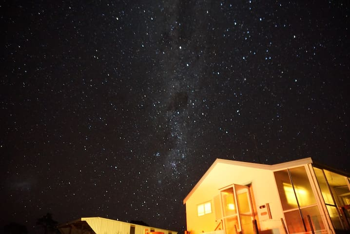 Picture of the accommodation at night given by my guests.