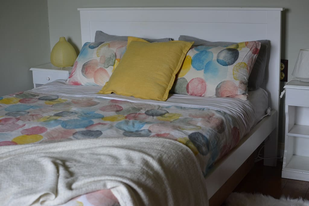Super comfy queen bed with electric blanket