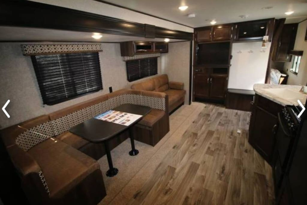 Dinette and sofa slide out