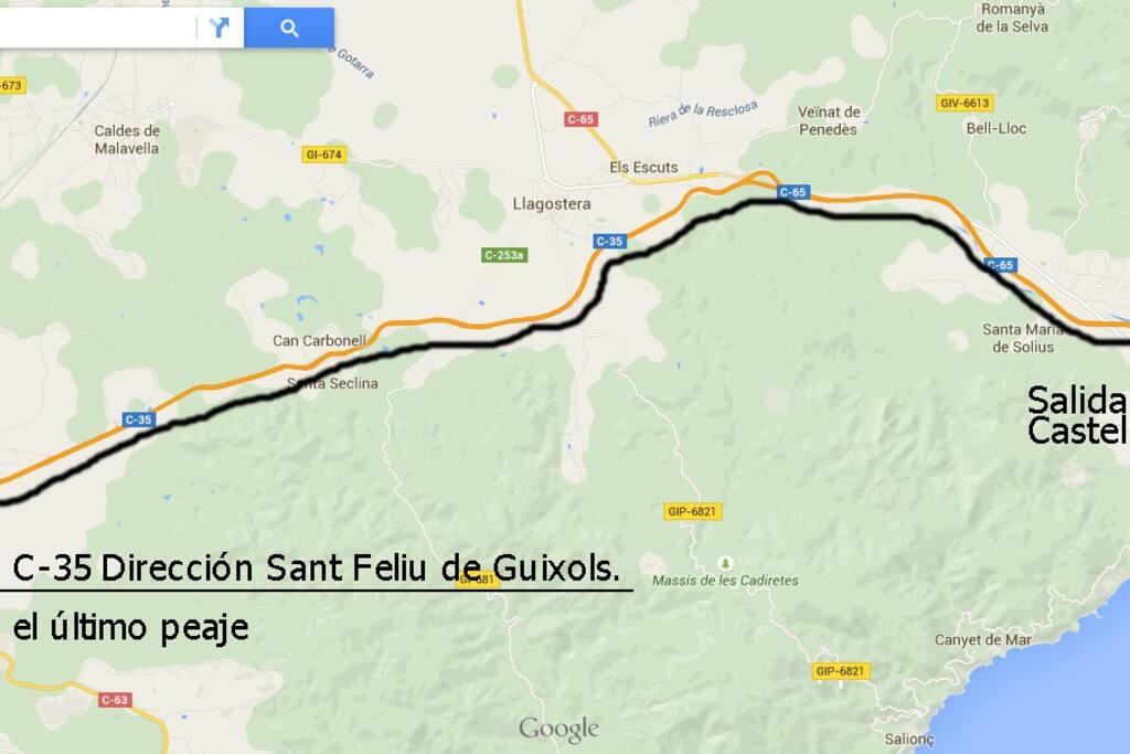Después de la salida autopista A7 carretera nacional para llegar a S'Agaro