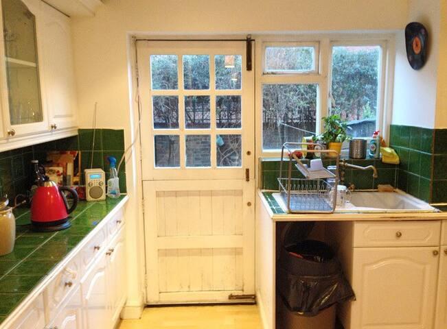 Door through kitchen to the garden