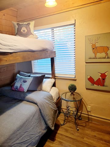 Newly added bunkbeds in downstairs bedroom