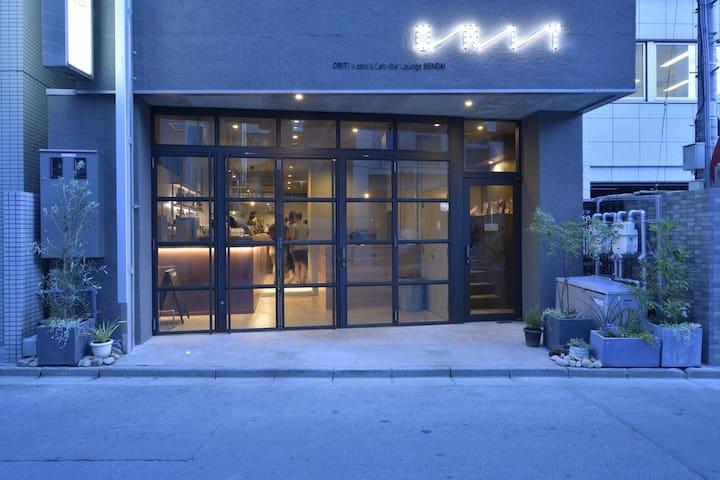 仙台駅近くのHostel Cafe+Bar Lounge ツインルーム