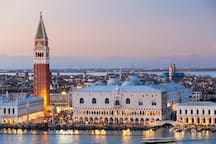 view of Doge Palace from San Giorgio Bell Tower, 10 minutes from the apartment