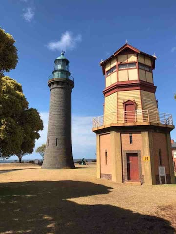 Inside the Queenscliff Fort wall. One of only 3 black lighthouses in the world!