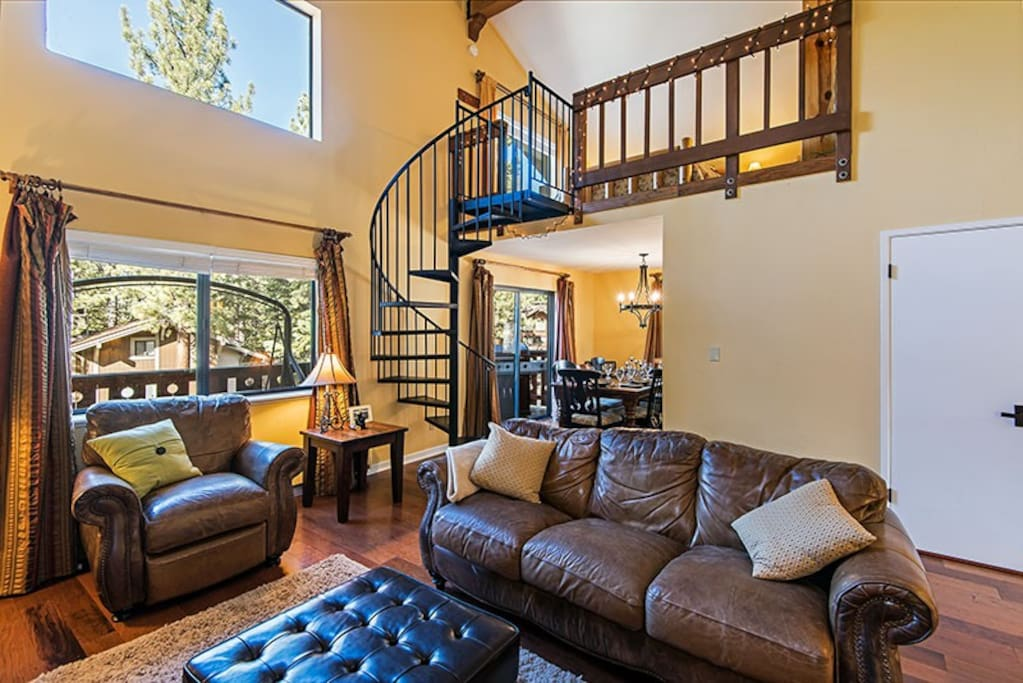 Open Living Room with Stairway to Loft