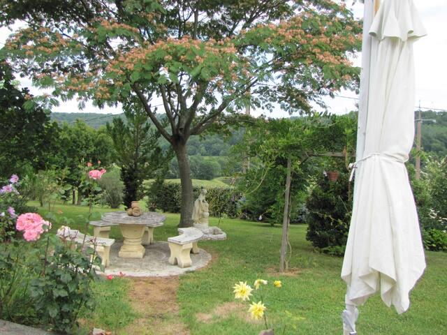 table  de jardin ombragée
