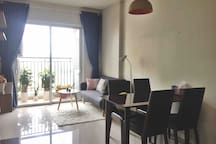 Sunny living and dining area, attached with balcony