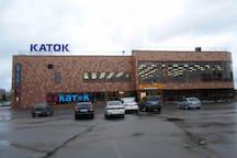 Спортивный центр, в котором находятся продуктовый магазин, каток, бассейн, фитнес зал, макдональдс.