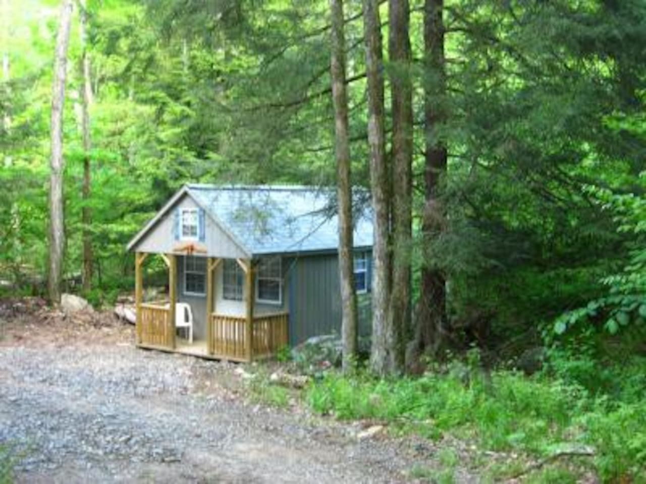 A peaceful, secluded setting surrounded by hemlock trees.