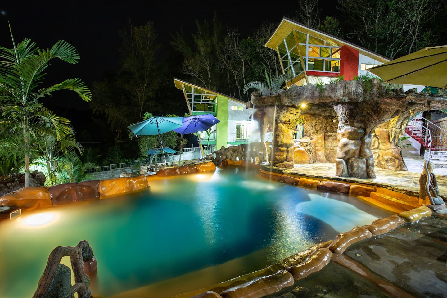 Night view of our unique and beautiful pool