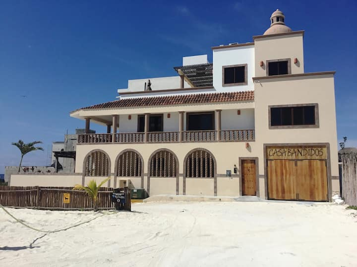 Caribbean beach front house located right in town.