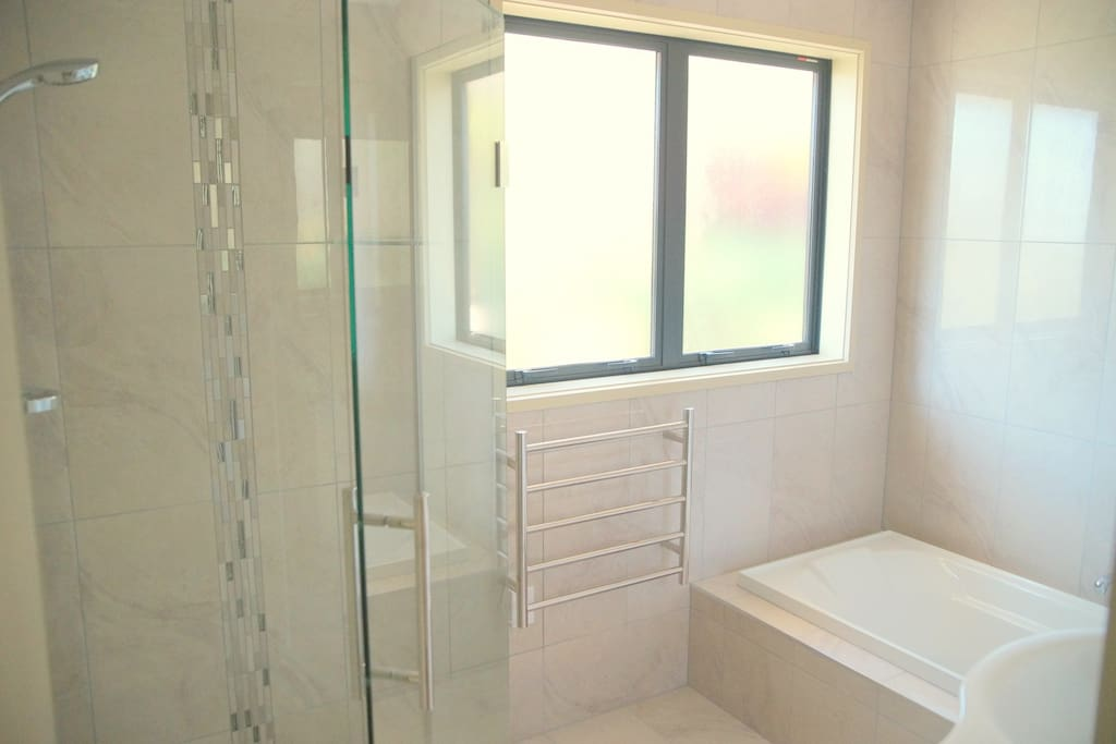 The Main bathroom with shower, bath and vanity