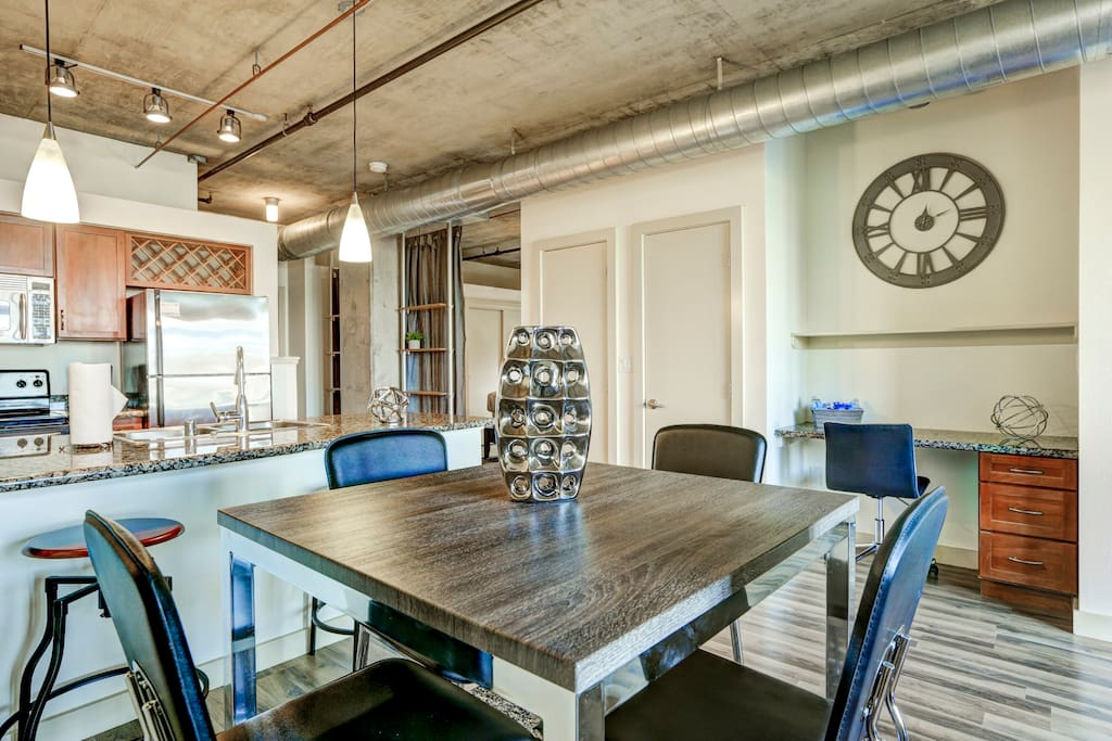 Kitchen and Dining area at Premier Lofts by Stay Alfred