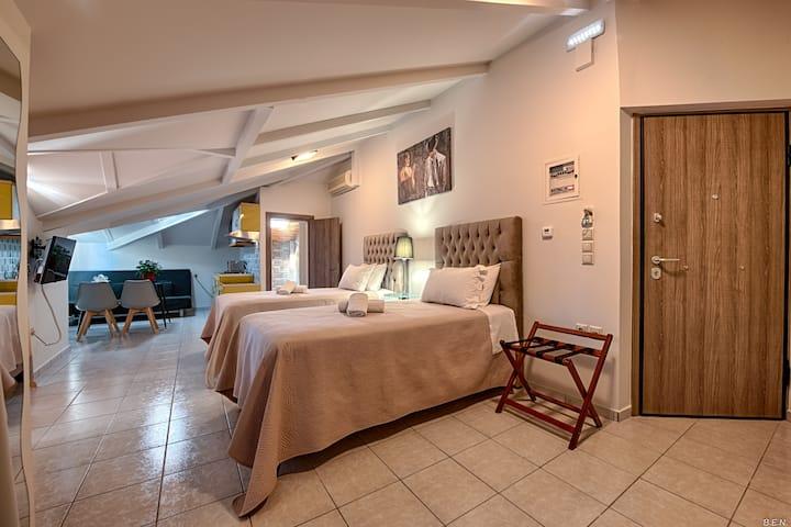 (Σ1) ATTIC TWO BEDS AND  SOFA AT HOSPITAL RIO