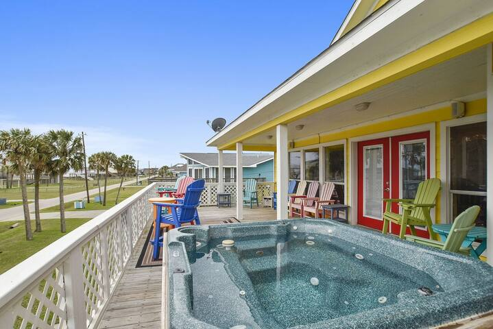 Mimbrosa: 2nd Row in Jamaica Beach, Private Hot Tub Deck with Gulf View!