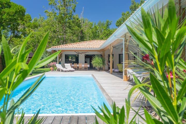 Villa familiale avec piscine dans les pins