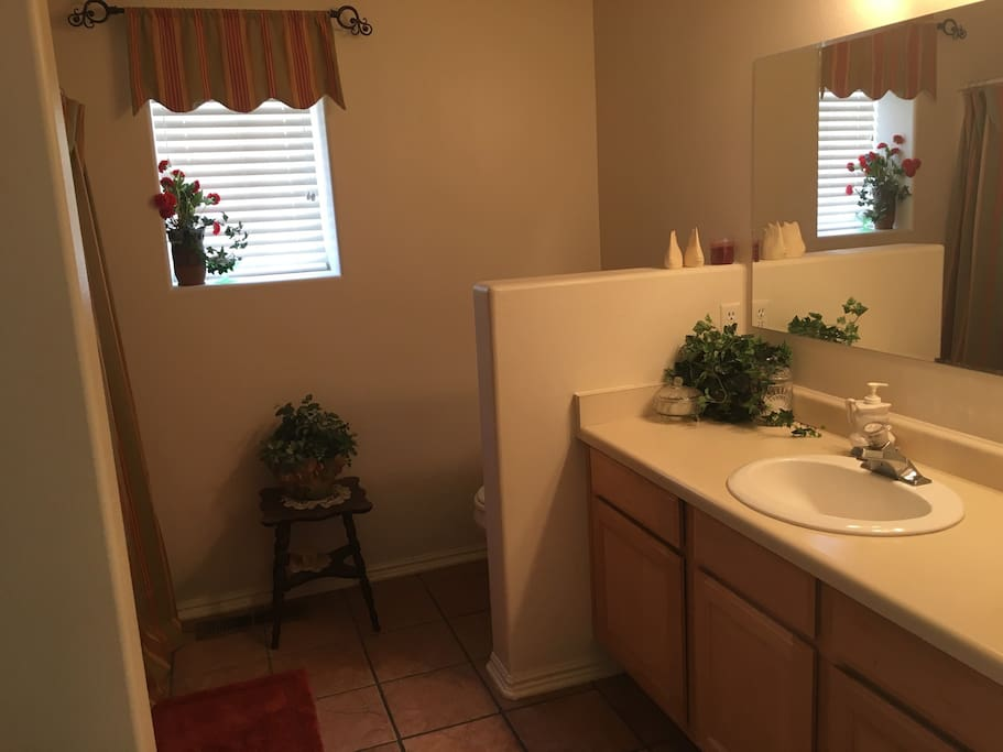 This bathroom is hospital standard clean and it features a tub/shower combo and lots of counter space.