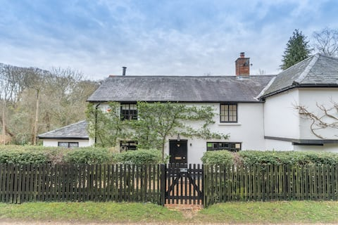 Luxury cosy cottage, enchanting forest location.