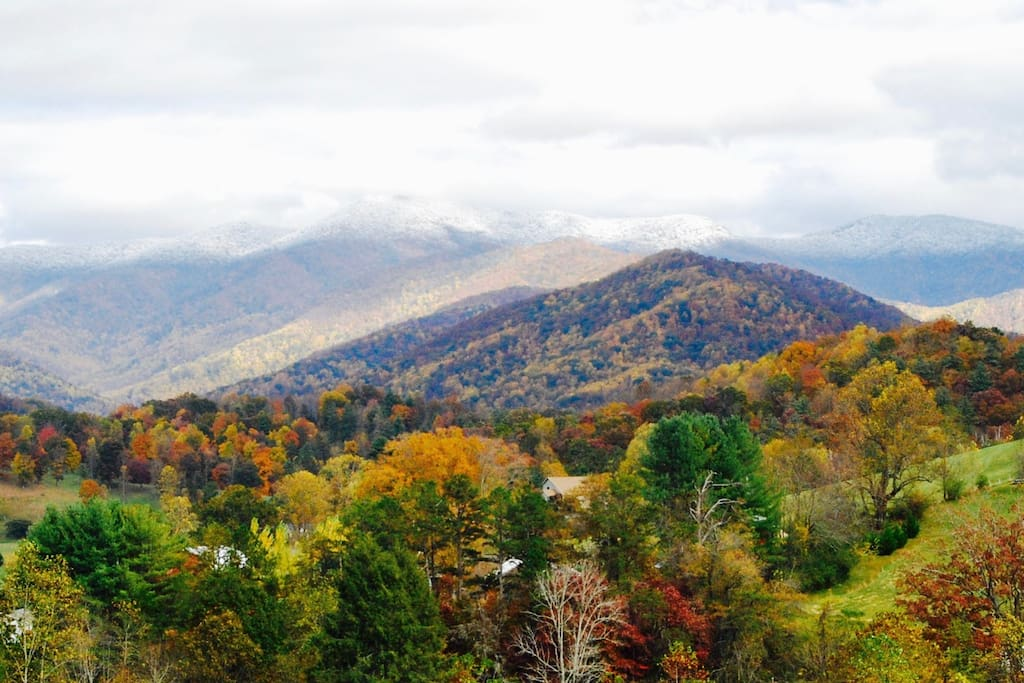 October is the time to come to the mountains to see the fall colors!  This view can be had a short walk from the cabin, which is nestled in the trees.