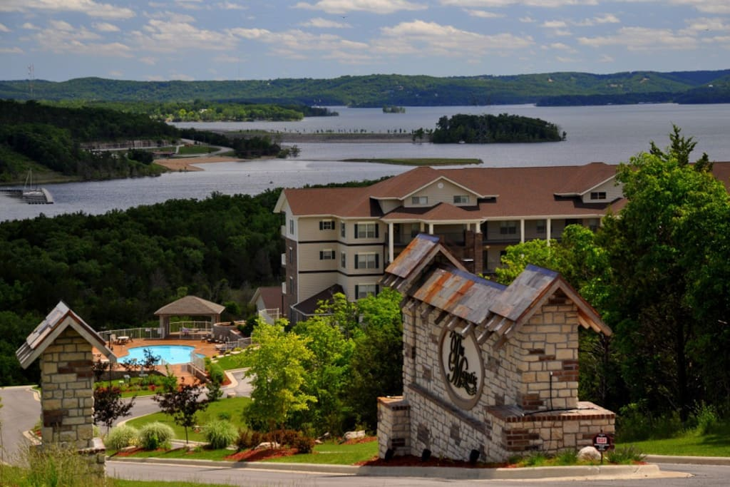 The Majestic's main entrance; Bldgs. 1 & 2; Table Rock Lake. Our Bldg. #4 is down the hill, closer to the shoreline.