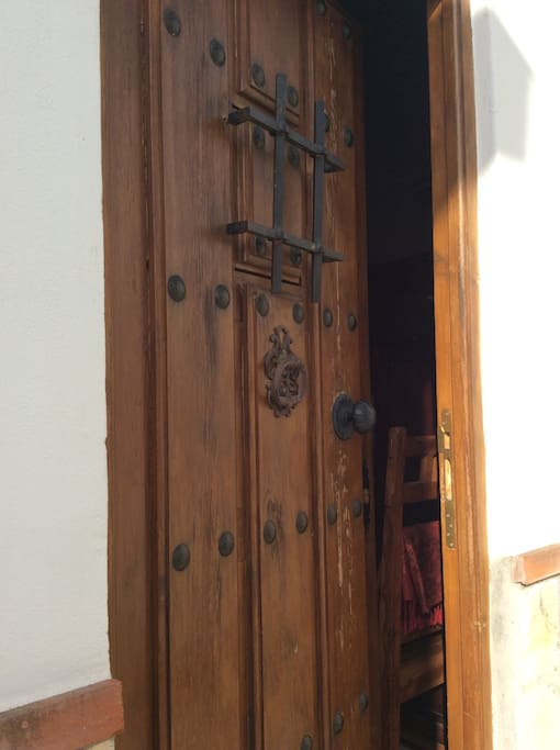 Spanish front door to Casita. Guests have their own front and back door keys