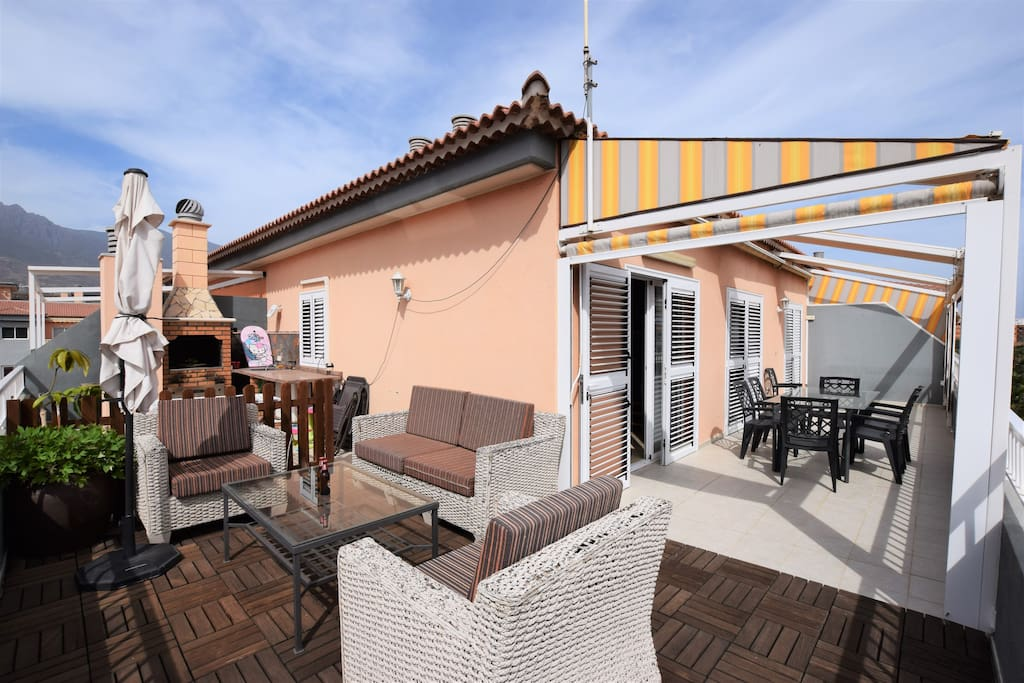 Large terrace with swimming pool views, perfect for family. BBQ is only decorative, can not be used.