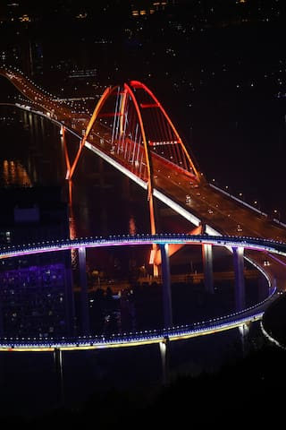 可以在家看电影的江景温馨loft复式90°落地窗阳光空调房 - Chongqing - Loft