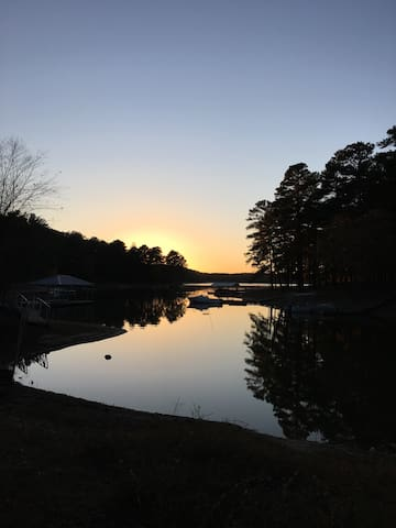 Enjoy sunset from our dock. Bring your boat!