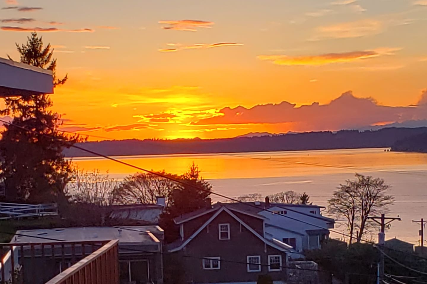 Golden sunsets of the PNW from our upstairs deck