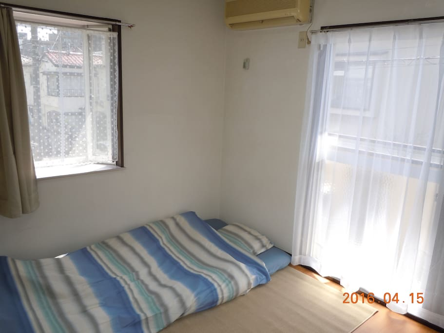 Room is very near only 3 mins. walk to JR Station, inside Japanese Style Bed Linen.