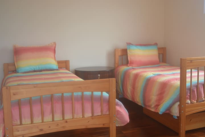 Twin beds, perfect for kids, or, they can be put together to make a king bed