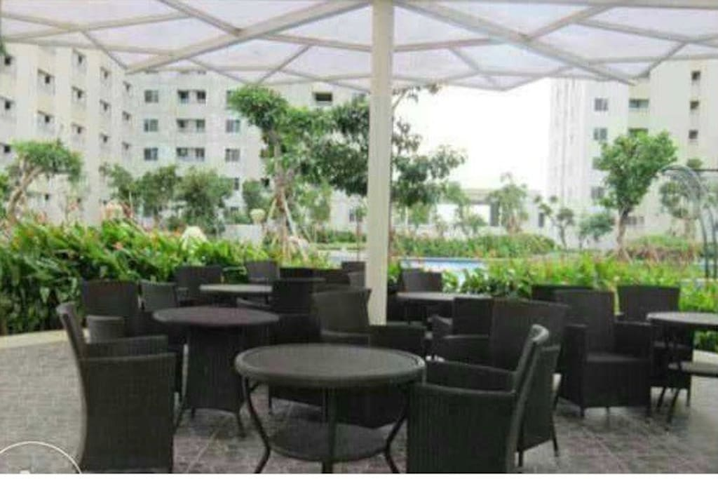 Terrace facility at pool side