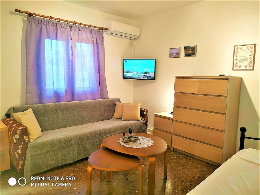 sofa that makes a double bed at 2nd bedroom. Also since July 1st has been changed with a new chest of drawers. aircondition inverter 12000 btu for cool or for warm bought at 2018