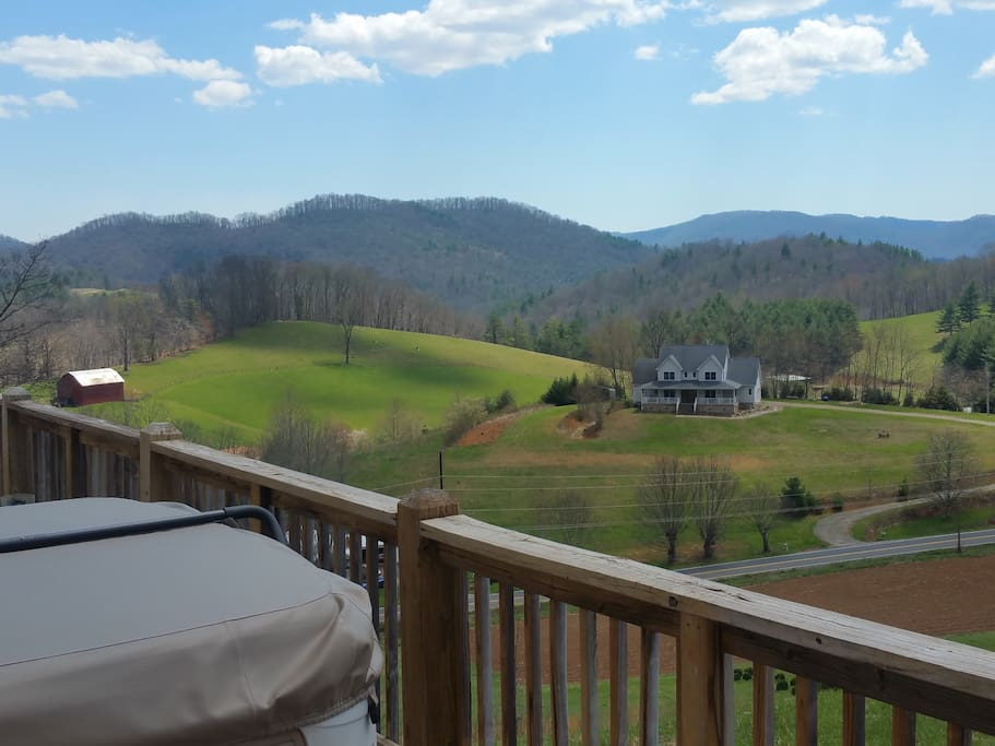 View from the hot tub at Green Mountain Chalet offers long range mountain views, hot tub and plenty of privacy.