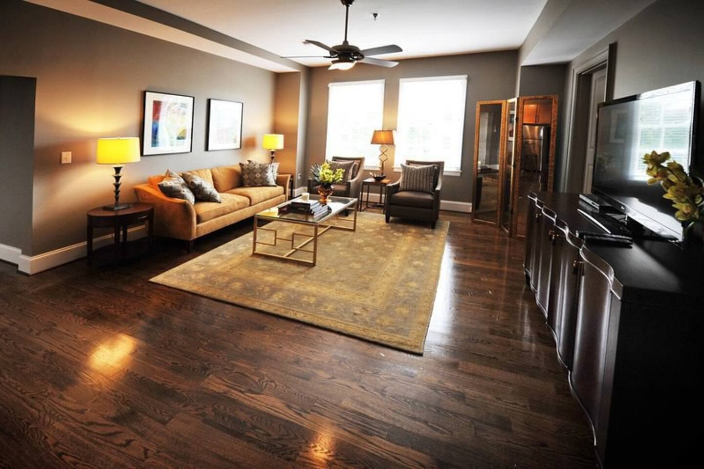 large living space with huge flat screen, cable, and plenty of room